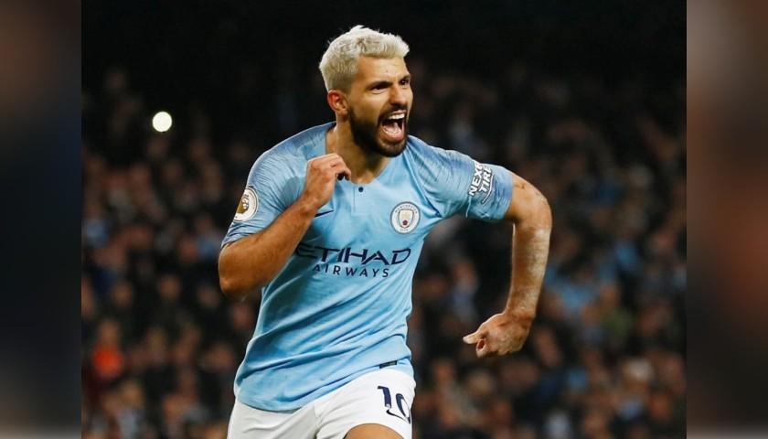 Aguero's Manchester City Match White Shorts, Premier League 2018/19
