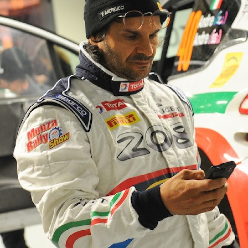 "Paolo Andreucci gives you the ""Special Edition"" racing suit worn and signed during the Monza Rally Show"