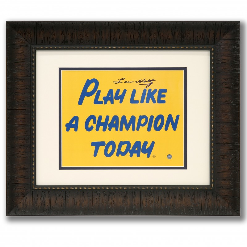 Notre Dame Play Like A Champ Today Print Hand Signed by Lou Holtz