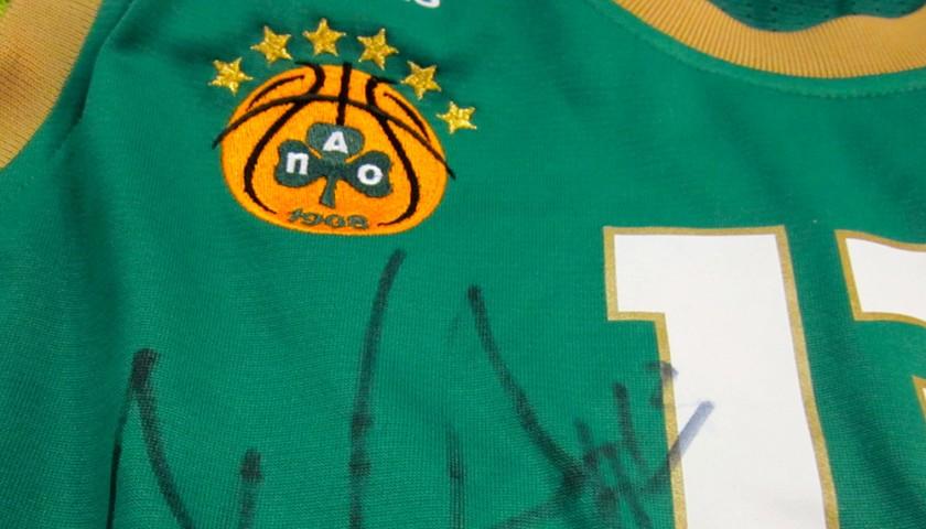 Diamantidis Panathinaikos match worn shirt, Panathinaikos-Olimpia Milano 2014 - signed