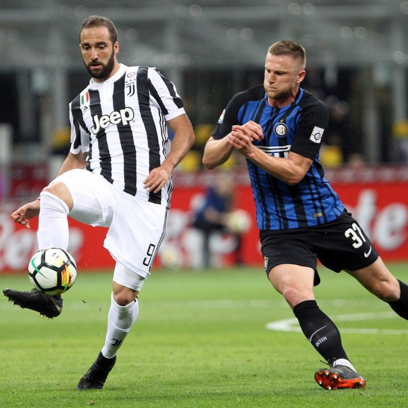 Skriniar's Match-Worn 2018 Inter-Juventus Shirt, with 110th Anniversary Special Patch