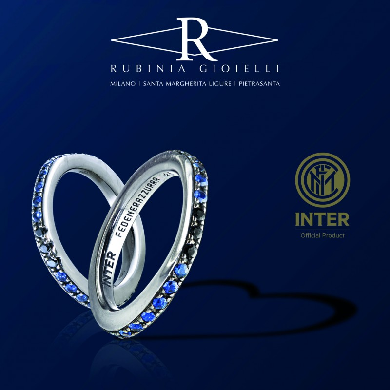 Black and Blue Inter Ring by Rubinia Gioielli