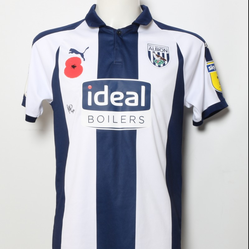ceae6ea10 Rekeem Harper s West Bromwich Albion Worn and Signed Home Poppy Shirt