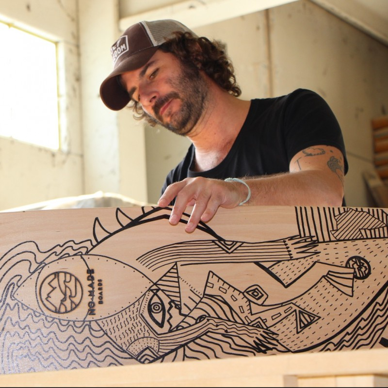 No-Made Boards Longboard Personalized by Artist Alan Zeni