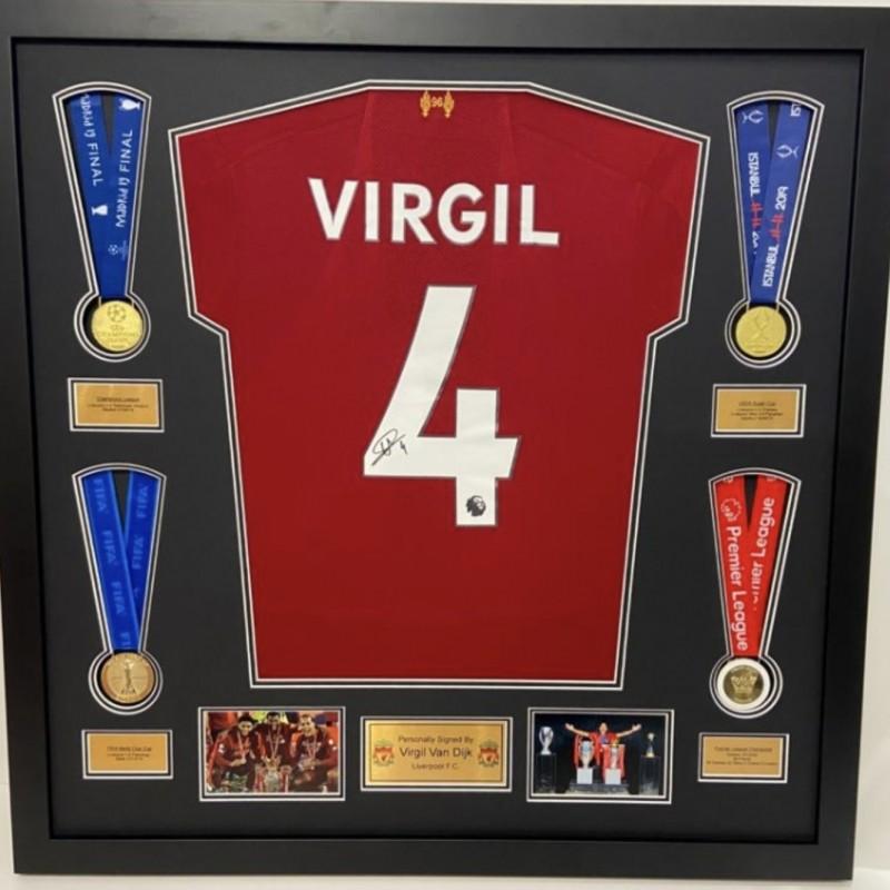 Van Dijk's Liverpool FC Signed and Framed Shirt