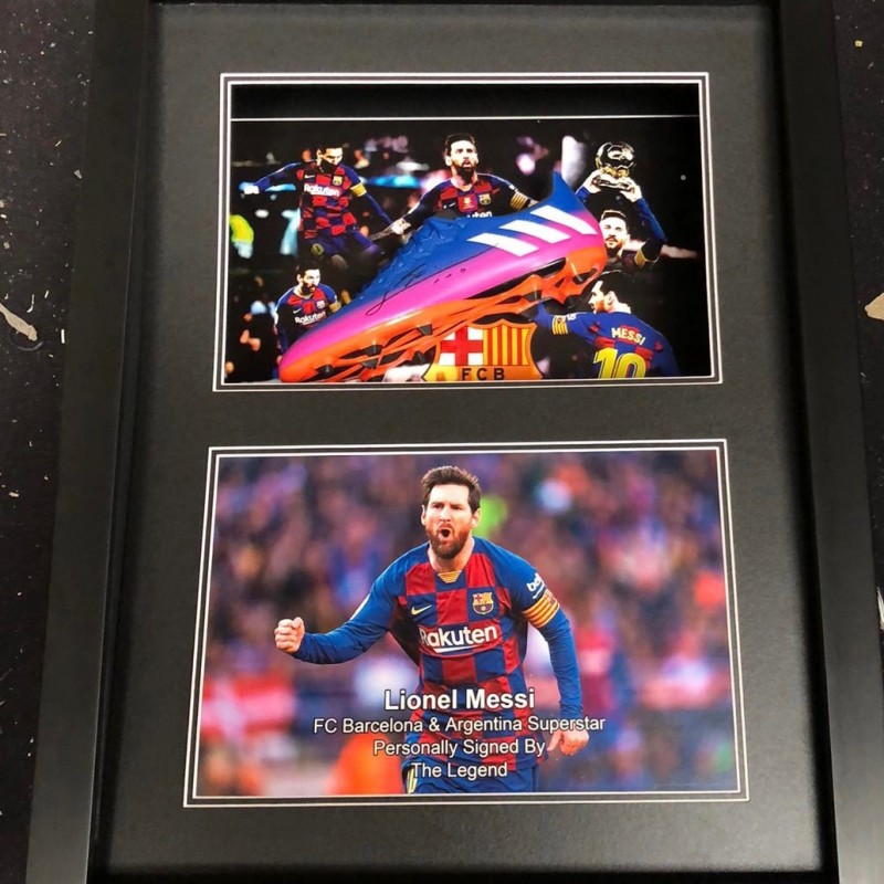 Signed Lionel Messi Barcelona Football Boot Display with LED Lighting