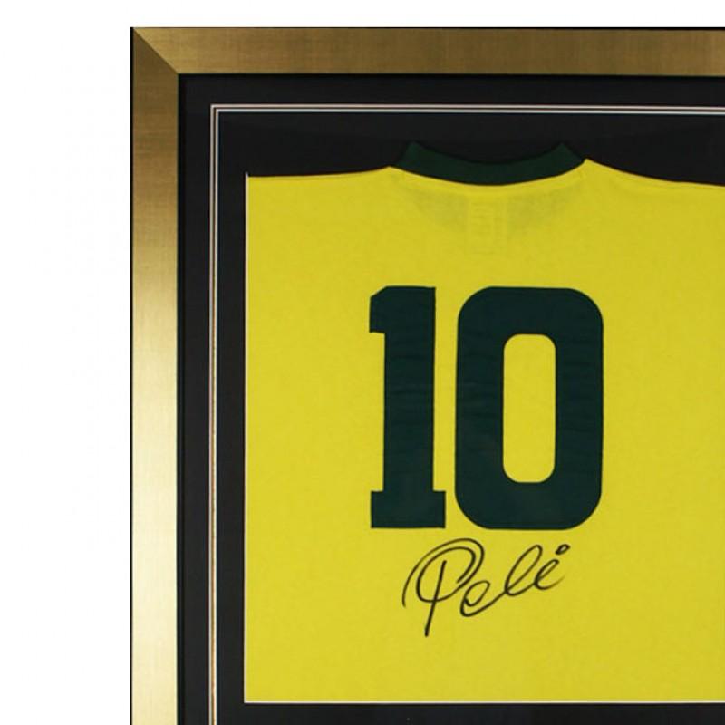Pele Signed and Framed Brazil Jersey Shirt