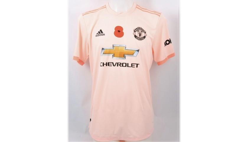2a56b0e8b65 Pogba s Manchester Utd Match-Issue Worn Poppy Shirt