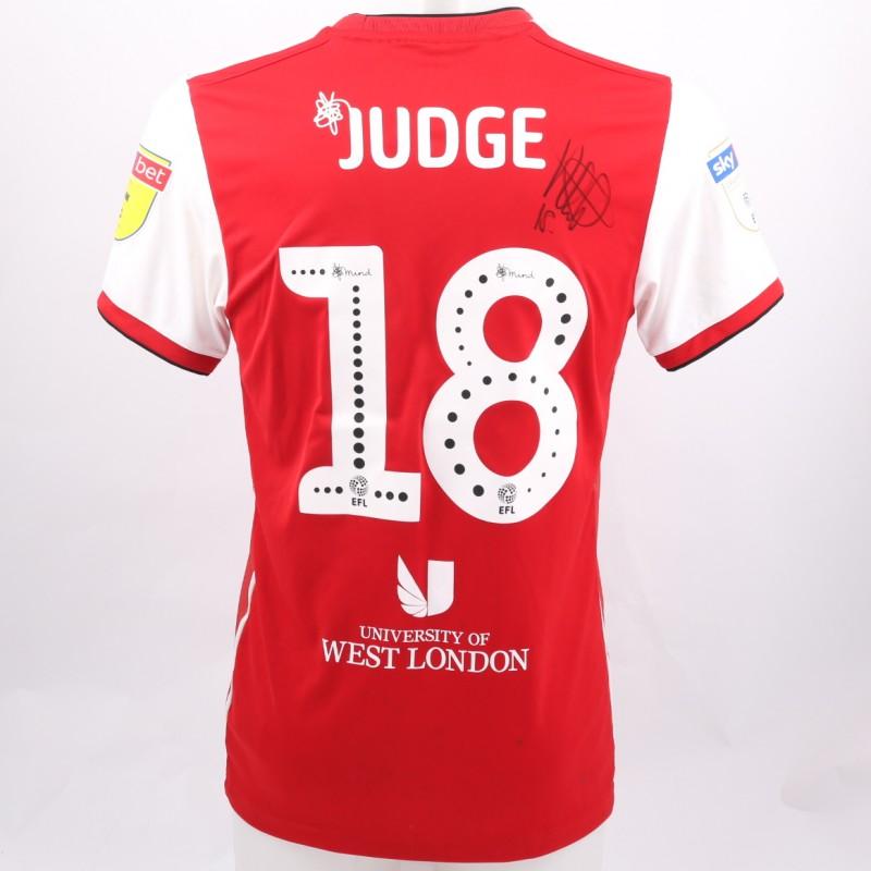 Judge's Brentford Worn and Signed Poppy Shirt