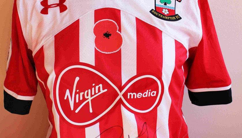 detailed look c6fbc cecae Virgil Van Dijk's Match Worn and Signed Southampton FC Poppy Shirt from  16/17 - CharityStars