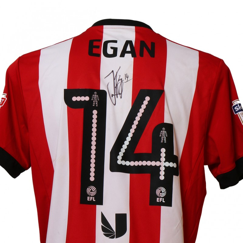Official Poppy Shirt Signed and Worn by Brentford FC's John Egan