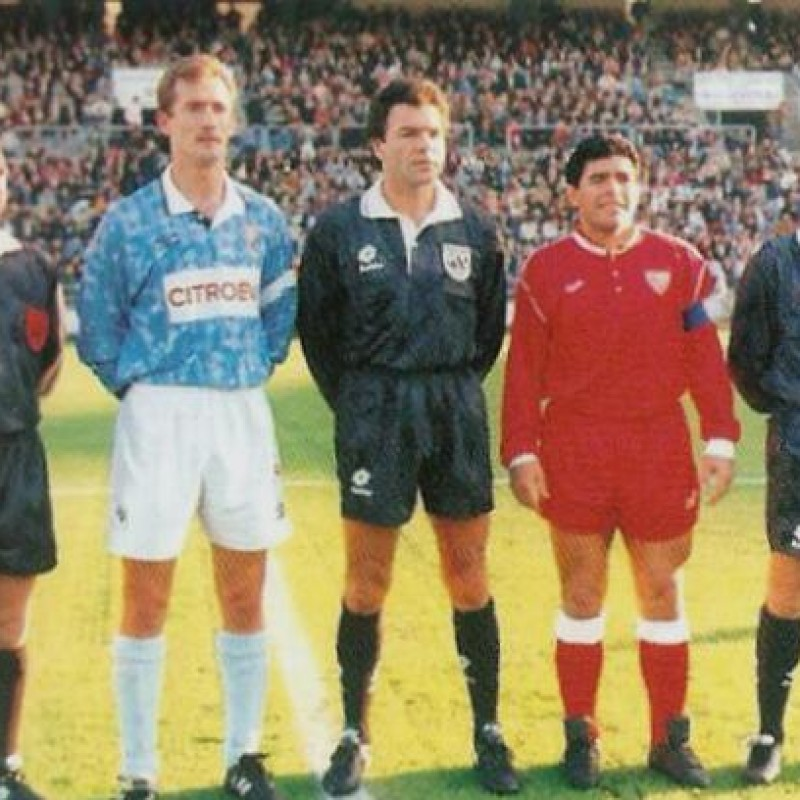 Maglia Maradona Siviglia, preparata / indossata 1992/93