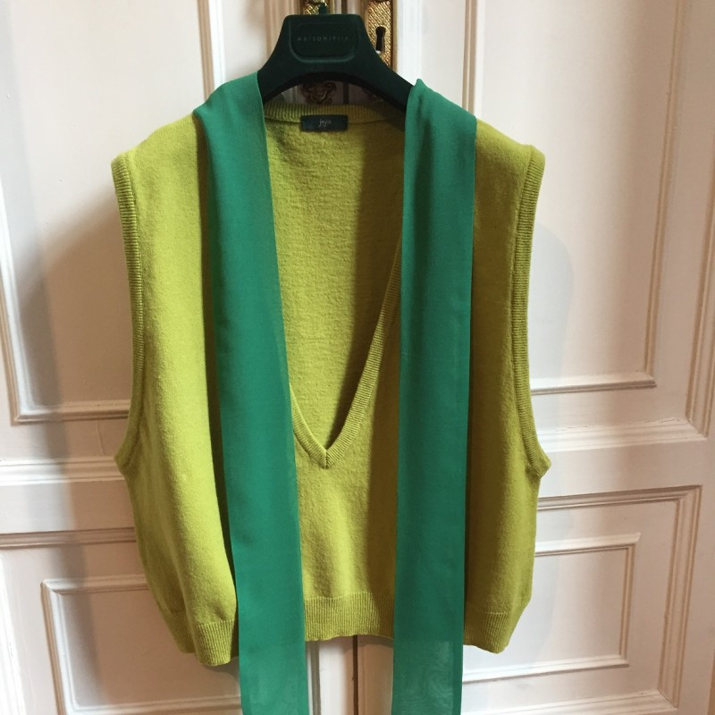 Jejia Grace Gilet in Green Lambswool and Silk