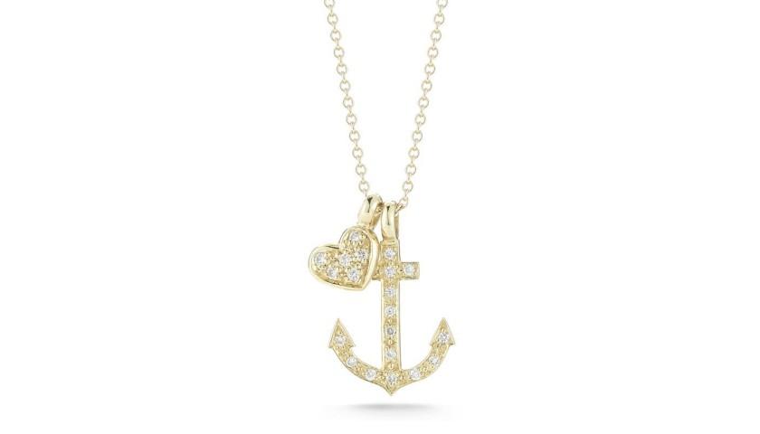 14 Karat Yellow Gold Anchor & Heart Charm Necklace