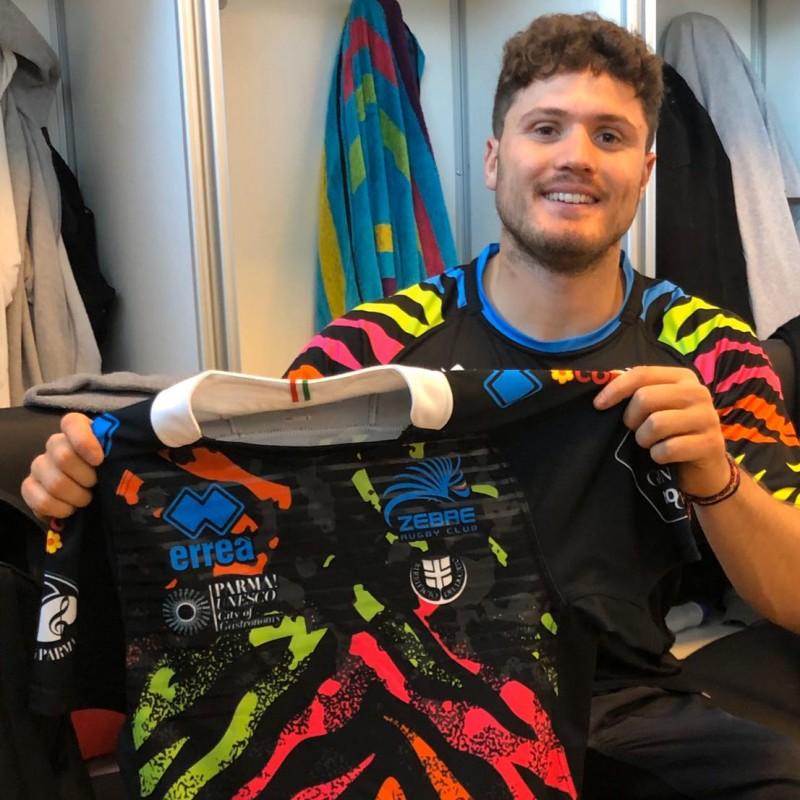 Violi's Zebre Worn Rugby Shirt, 2017/18 - Signed