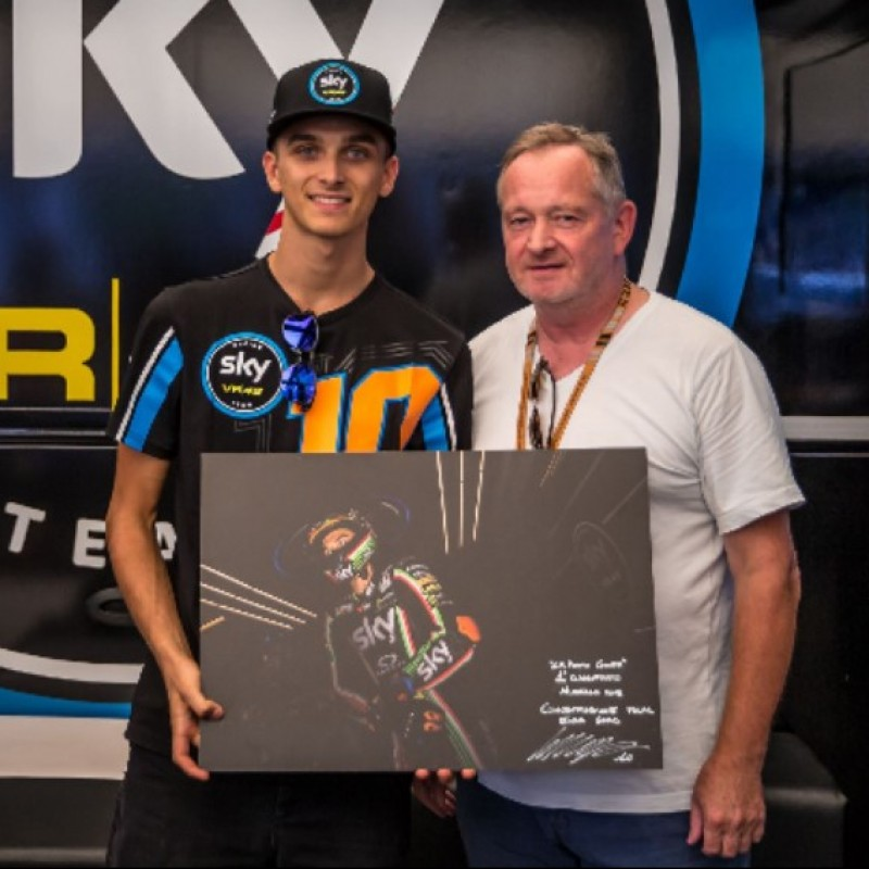 Gloves Worn by MotoGP Racer Luca Marini and Photo - Signed