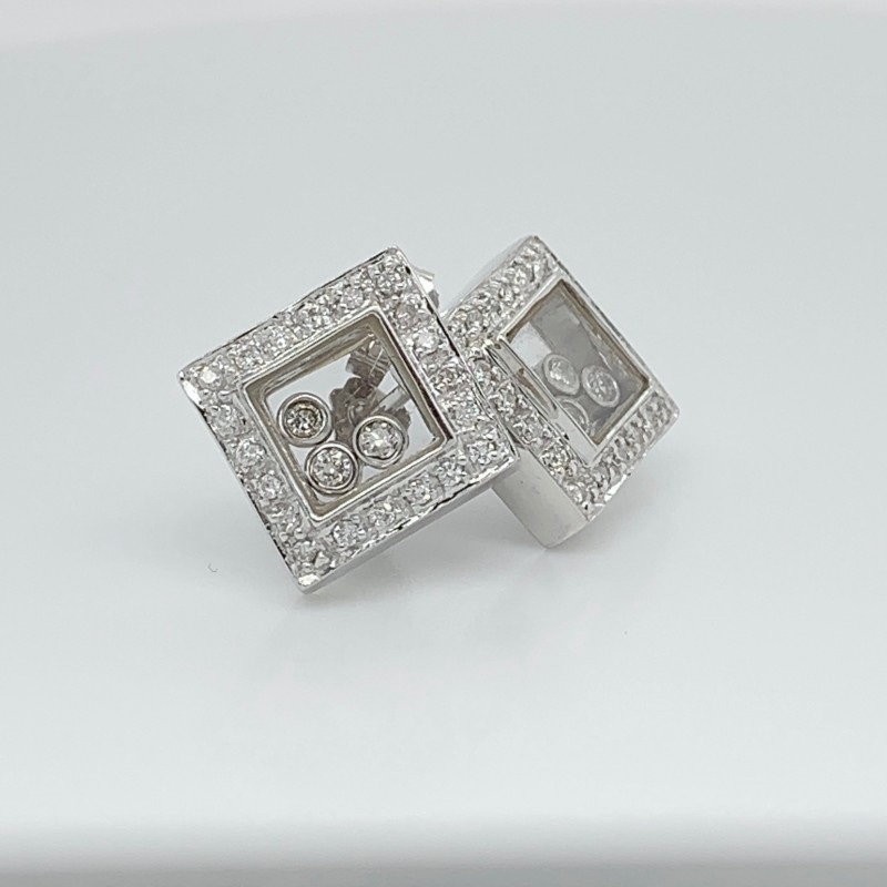 18KT White Gold and Diamond Shadow Box Earrings