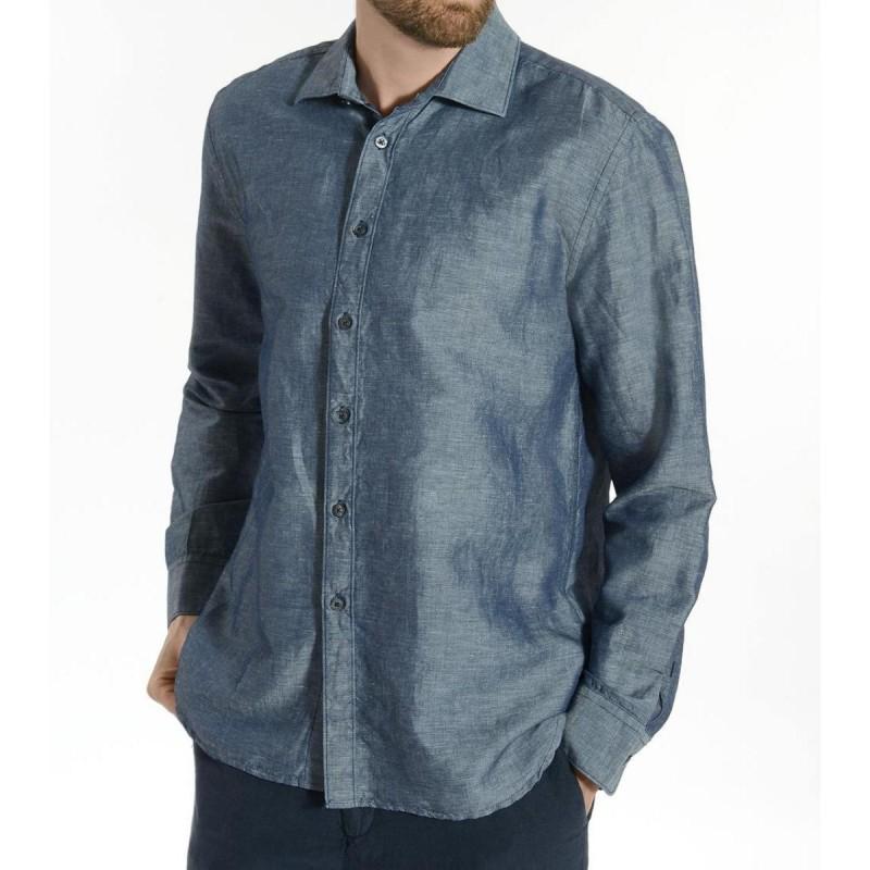 DENIM BLUE Men's Shirt by 120% Lino