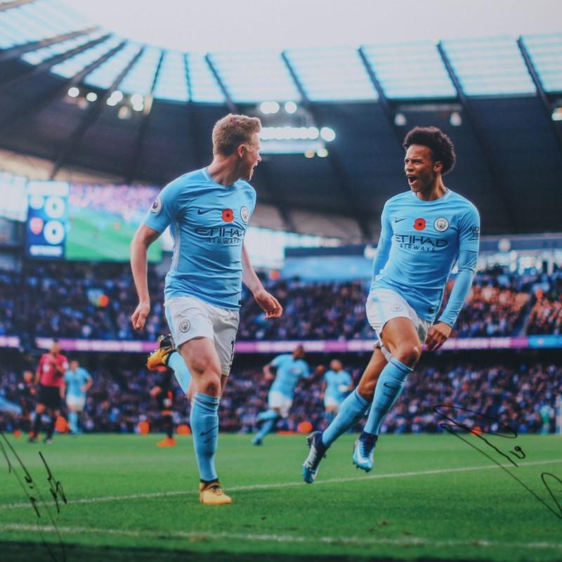 Leroy Sané & Kevin De Bruyne Manchester City A2 Signed Photograph