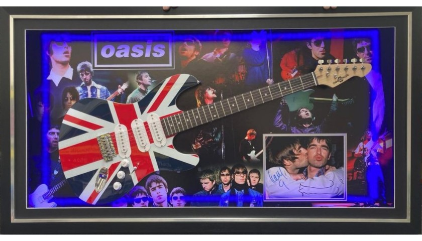 Oasis Signed, Framed and LED Lit Photo and Guitar Display