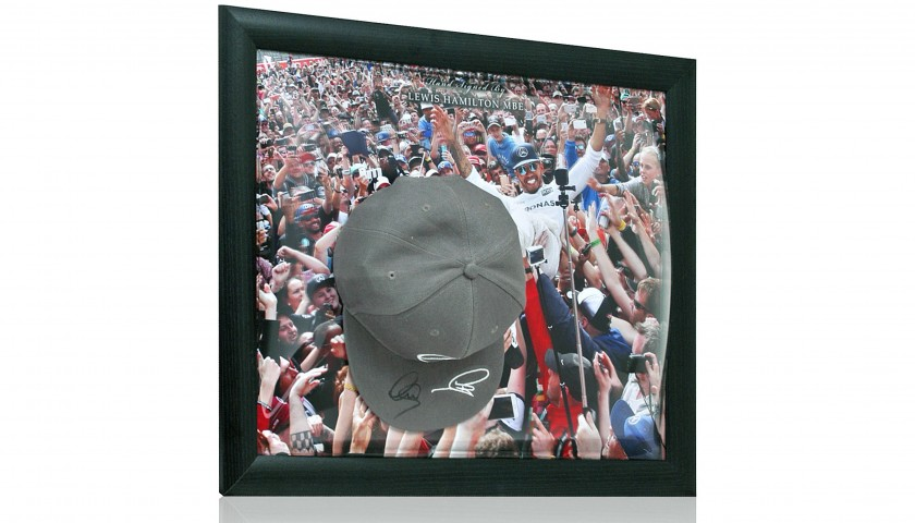 Formula 1 Official Mercedes Cap Hand Signed by Lewis Hamilton MBE