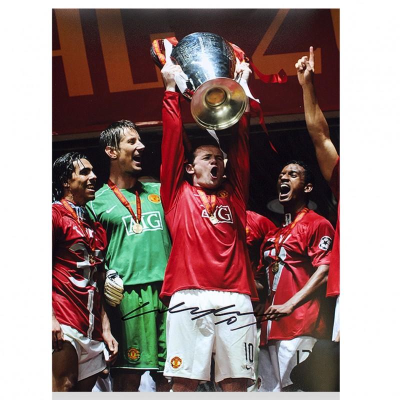Wayne Rooney Signed Manchester United Photo: 2008 UEFA Champions League Winner