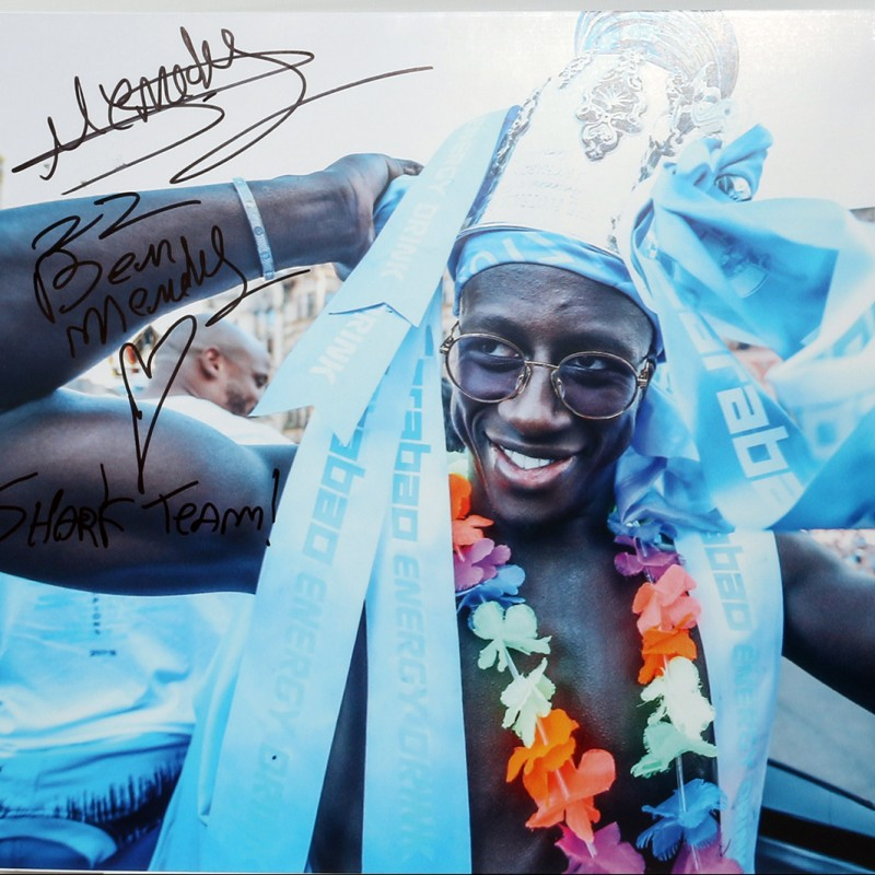 Signed Picture of Manchester City's Benjamin Mendy at Champions' Parade 2018