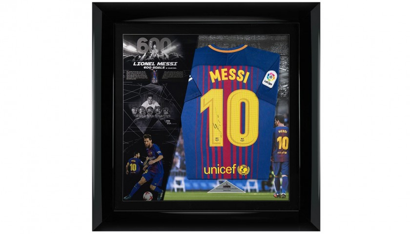 huge selection of f000e 677a7 Framed and Signed Official 2017/18 Messi Barcelona Shirt, Deluxe Edition -  CharityStars