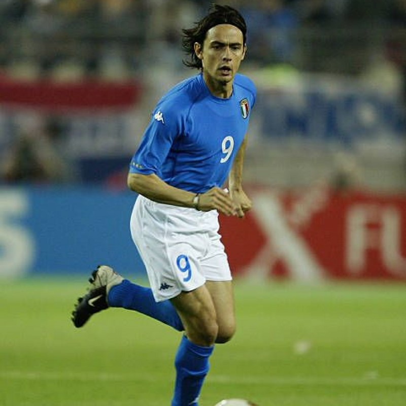 Inzaghi's Italy Match-Issue/Worn Shirt, World Cup 2002