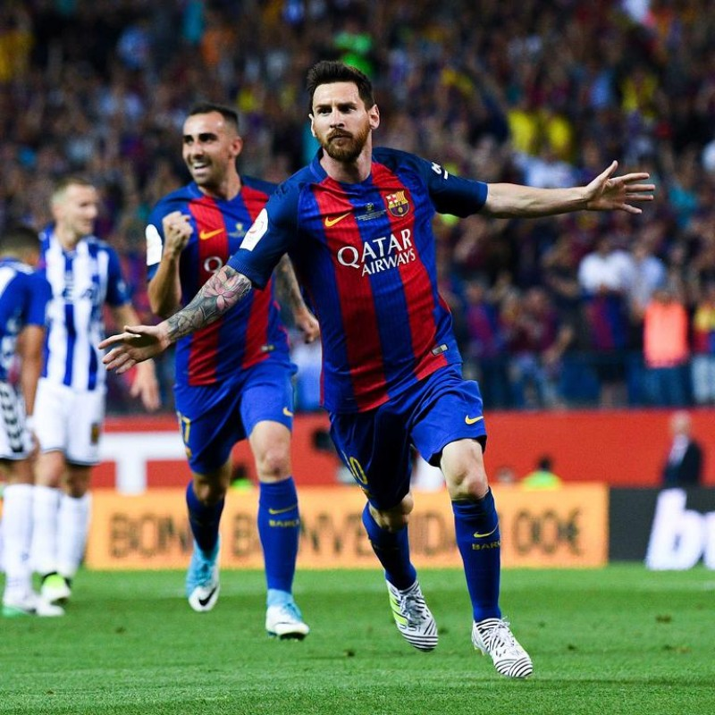 Messi's Match-Issued Barcelona Shirt, 2017 Copa del Rey Final