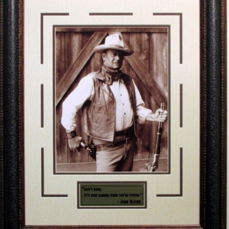 """Life is Hard. It's Even Harder When You're Stupid"" Autographed Photo of John Wayne"