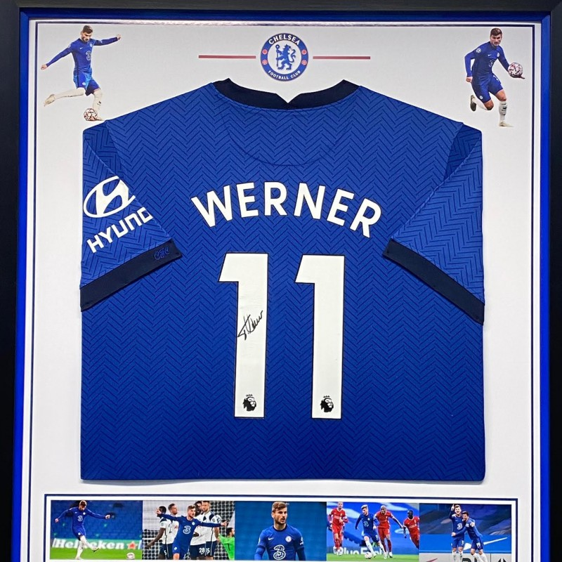 Chelsea FC Shirt Signed by Timo Werner, Professionally Framed