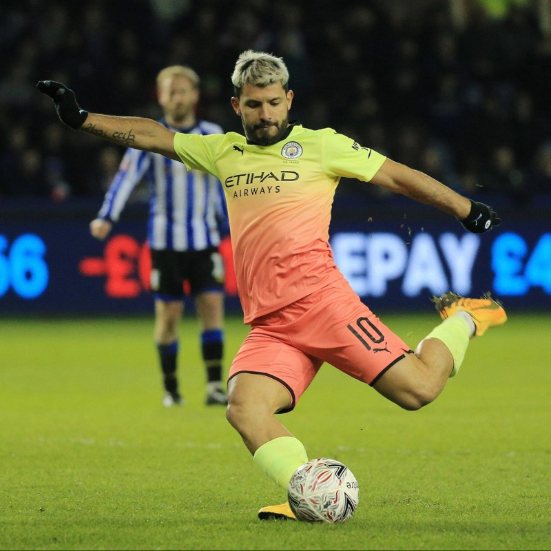Aguero's Man City Match Signed Shirt, PL 2019/20