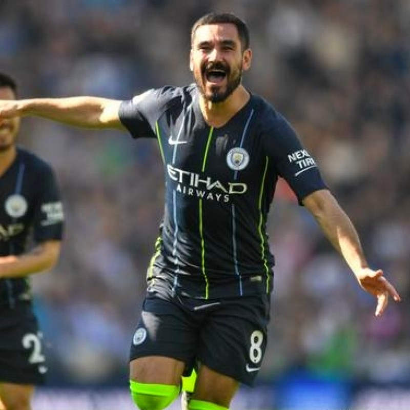 Gundogan's Manchester City Navy/Volt Match Shorts, Premier League 2018/19