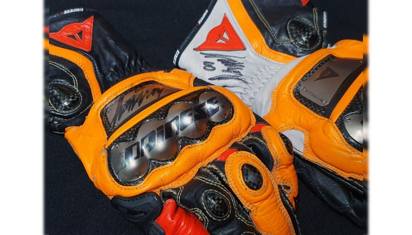 Photograph and Gloves Worn by MotoGP Rider Luca Marini - Signed