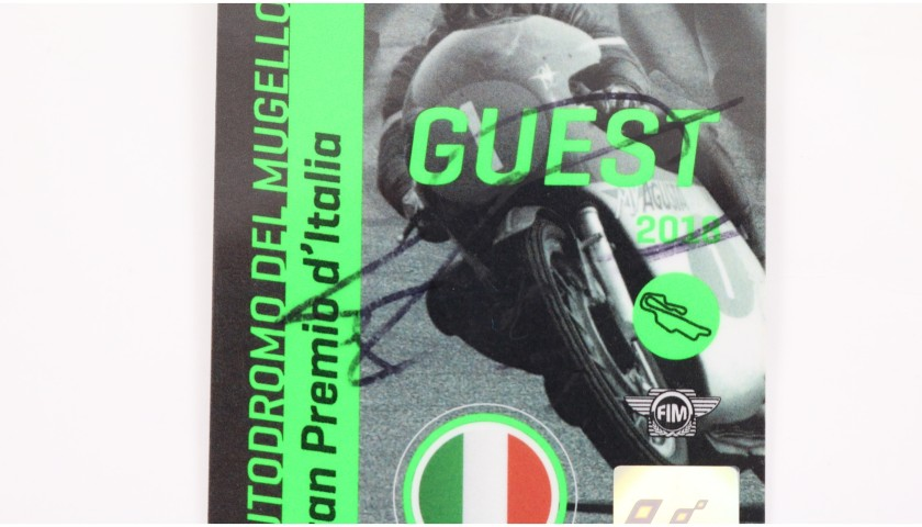 Mugello Paddock Pass Signed by Giacomo Agostini