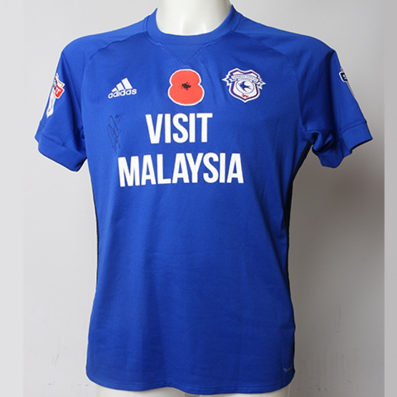 Poppy Shirt Signed by Cardiff City FC's Lee Peltier