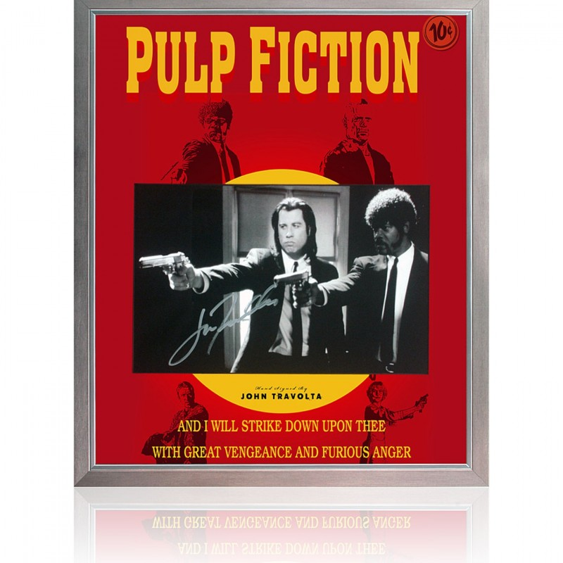 John Travolta Hand Signed 'Pulp Fiction' Movie Poster Presentation