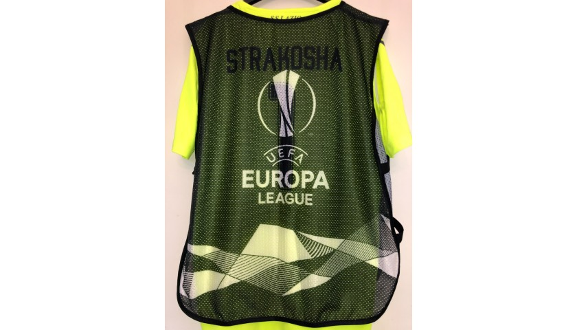 Strakosha's Lazio Match Shirt, UEL 2019/20 + Bib