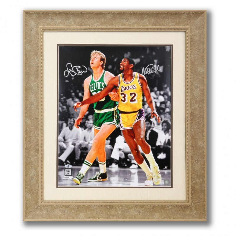 Larry Bird and Magic Johnson Hand Signed Rivals Vintage Photograph