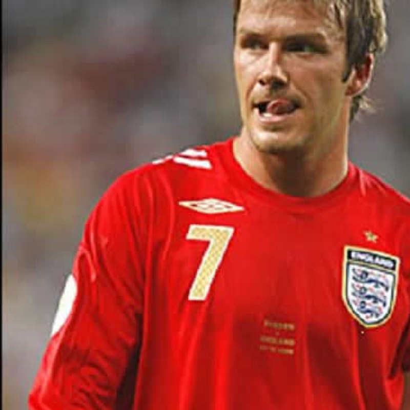 Beckham match worn shirt, England vs. Uruguay 2006