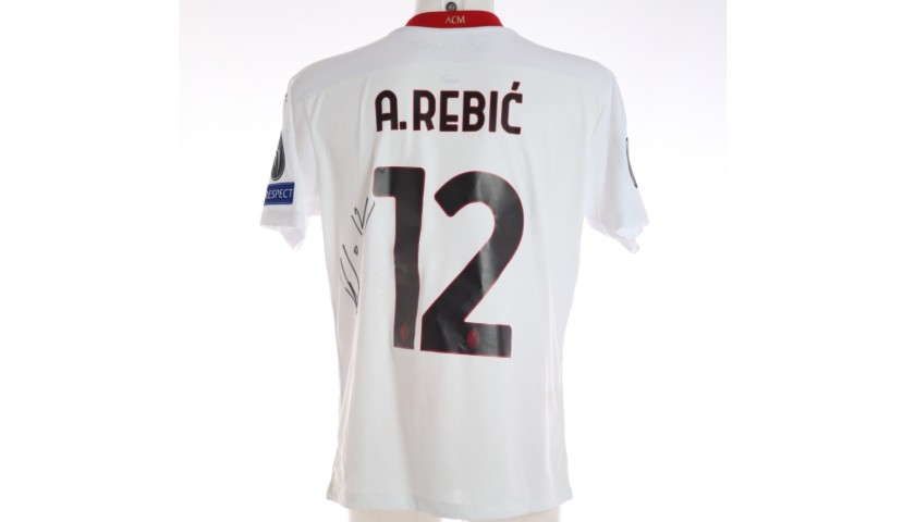 Rebic's Worn and Signed Shirt, Lille-Milan 2020