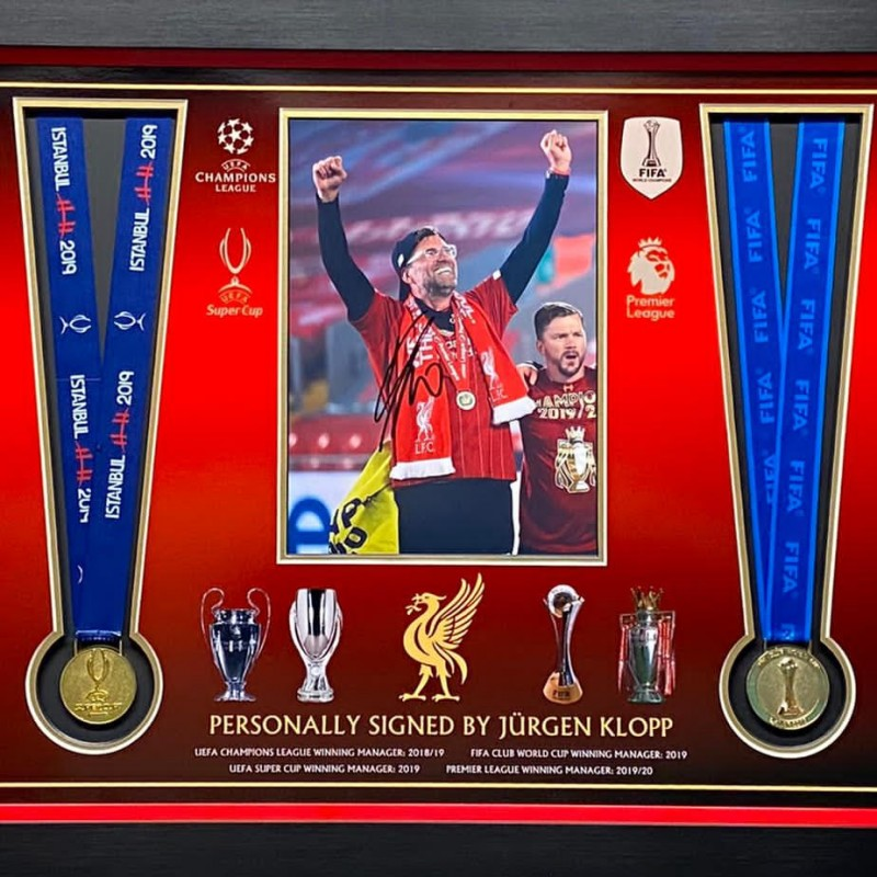 Liverpool Medal Montage Celebrating Cup Wins, With 4 Medals and Klopp Signed Picture