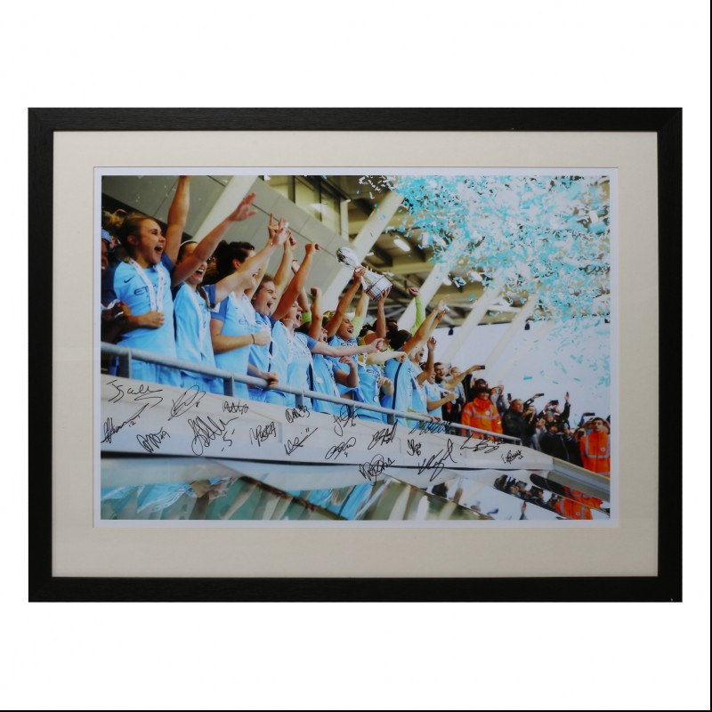 Manchester City Women's FC Champions Celebration Framed and Signed Photograph 2016|17