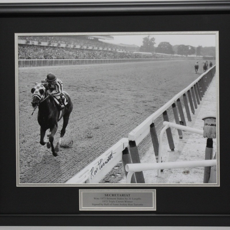 Secretariat Triple Crown Champion Photograph Hand Signed by Ron Turcotte