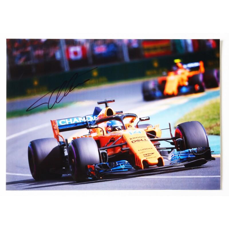 Fernando Alonso F1 A4 Signed Photograph