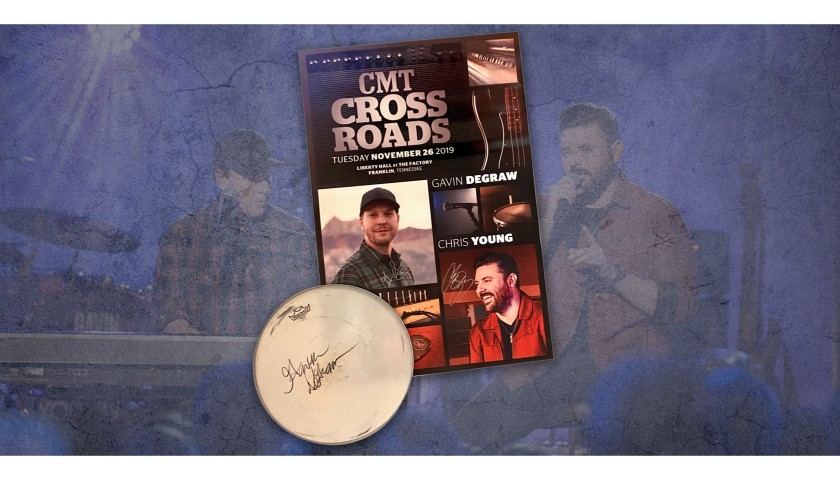 Gavin DeGraw Signed Drum Head & Gavin + Chris Young Hand Signed Crossroads Poster