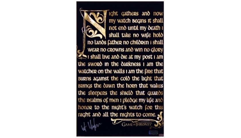 Kit Harrington Signed Game of Thrones  photo with Night's Watch Oath