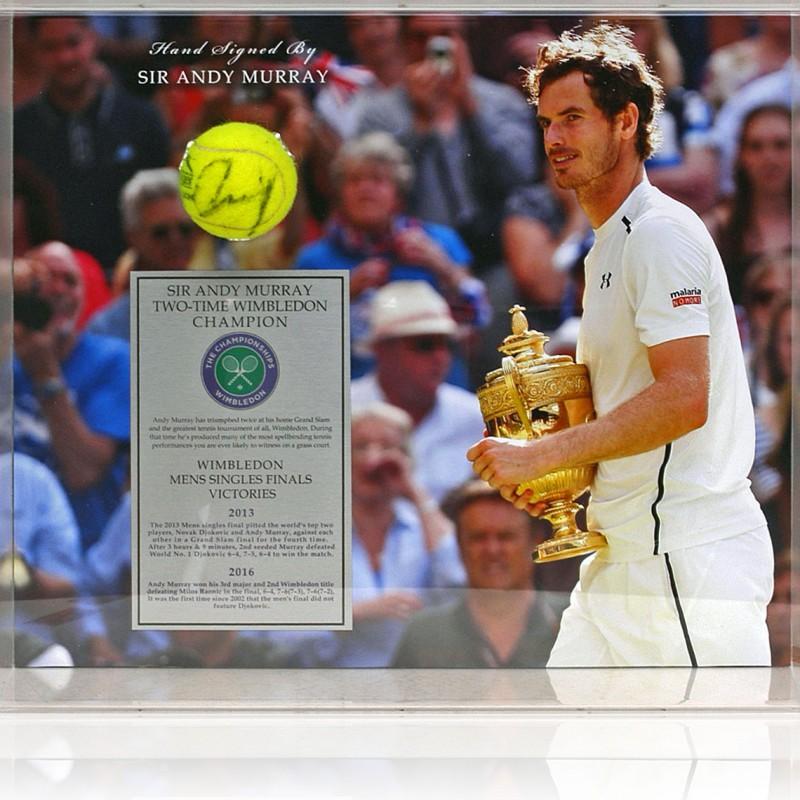 Sir Andy Murray Signed Tennis Ball Wimbledon Display