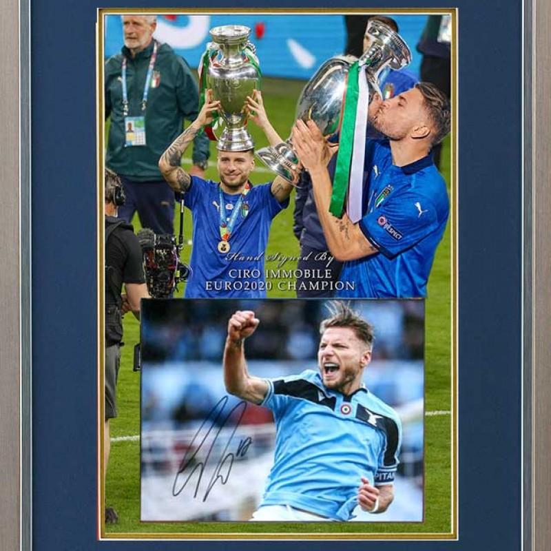 Ciro Immobile Signed Euro2020 Lazio Photo Display